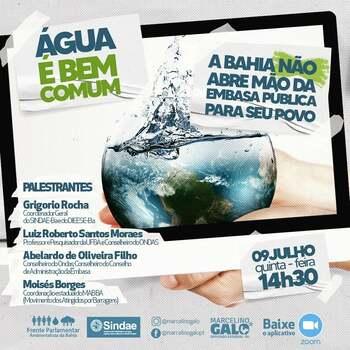 Batalha contra a privatização da água: Quinta tem debate sobre abertura de capital da Embasa e o futuro da água